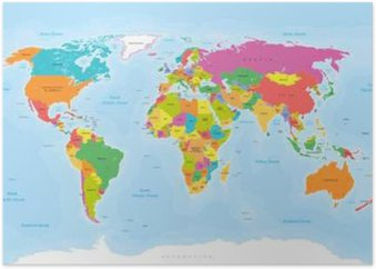 World map vector englishus labels canvas print pixers we world map vector englishus labels poster gumiabroncs Choice Image