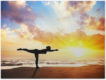 Poster Yoga silhouet op het strand