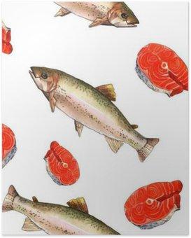 Poster Zeeforel vissen. Handgemaakte aquarel schilderij illustratie op een achtergrond wit papier art