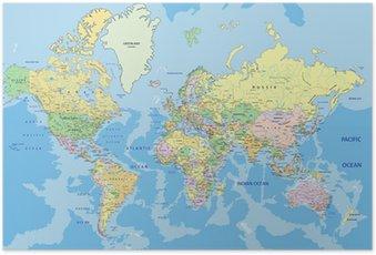 Poster Zeer gedetailleerde politieke kaart van de wereld met de etikettering.