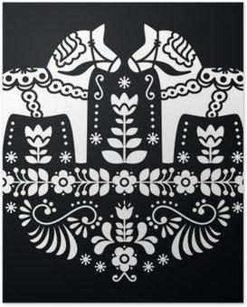 Poster Zweedse Dala of Daleclarian paard floral folk patroon op zwart