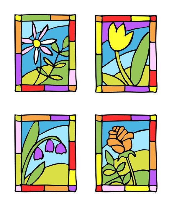 Obraz na Płótnie Proste wiosenne kwiaty. stylu witraże. - Rośliny