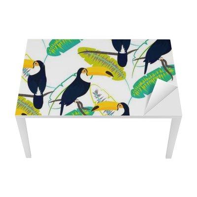 Proteção para Mesa e Secretária Toco pássaro tucano em folhas de bananeira padrão sem emenda do vetor no fundo branco. da folha da selva tropical e aves exóticas sentado no galho.