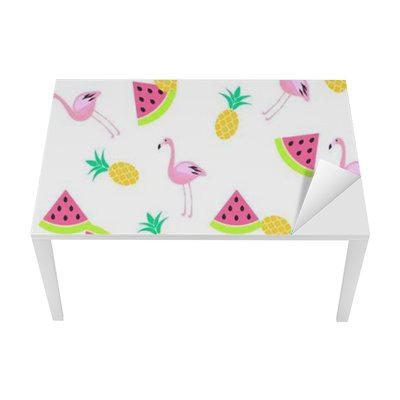 Proteção para Mesa e Secretária Trópico verão padrão branco sem emenda com melancia, flamingo e abacaxis. padrão de rosa e amarelo do divertimento.