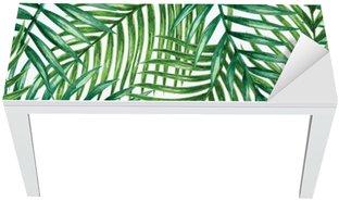 Proteção para Mesa e Secretária Watercolor tropical palm leaves seamless pattern. Vector illustration.