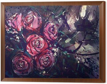 Quadro in Cornice Acquerello rose stile della pittura Abstract Art.