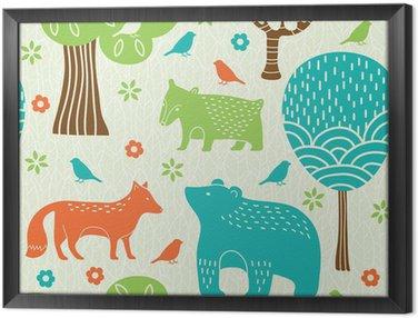 Quadro in Cornice Animali della foresta seamless pattern