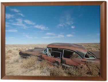 Quadro in Cornice Arrugginito vecchia auto nel mezzo del deserto del New Mexico