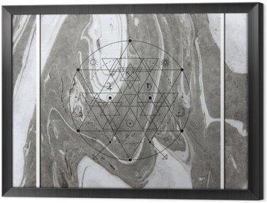 Quadro in Cornice Astratta geometria mistica, l'alchimia lineare, occulto, segno filosofico.