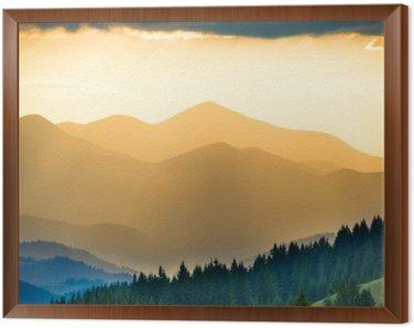 Quadro in Cornice Bel tramonto in montagna
