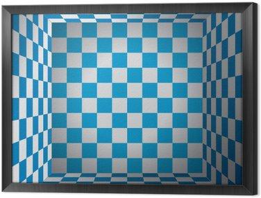 Quadro in Cornice Camera a quadri, cellule blu e bianco, scatola di scacchi 3d, oktoberfest vettore disegno di sfondo