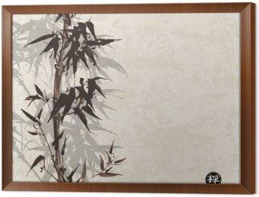 Quadro in Cornice Card con bambù su sfondo d'epoca in stile sumi-e. Disegnati a mano con inchiostro. Contiene geroglifico - felicità, fortuna