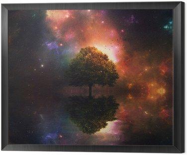 Quadro in Cornice Cielo notturno e albero