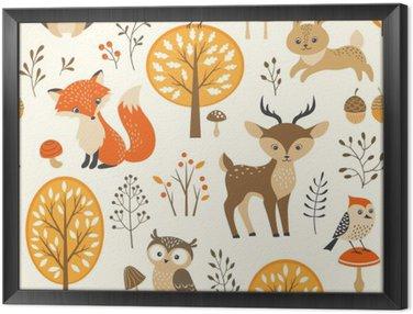 Quadro in Cornice Foresta di autunno seamless con simpatici animali