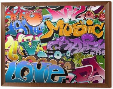 Quadro in Cornice Graffiti di fondo senza soluzione di continuità. Arte hip-hop