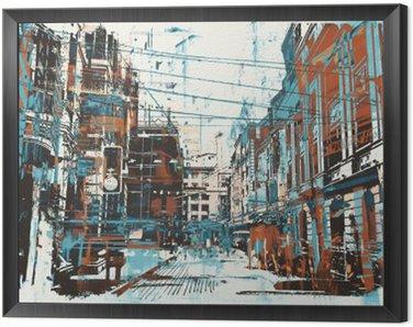 Quadro in Cornice Illustrazione pittura di strada urbana con struttura del grunge