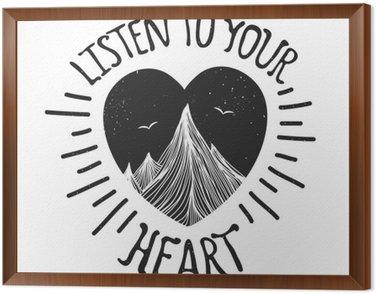 Quadro in Cornice Illustrazione vettoriale con montagne all'interno del cuore