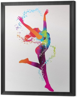 Quadro in Cornice La ragazza balla con macchie colorate e schizzi su un bac luce