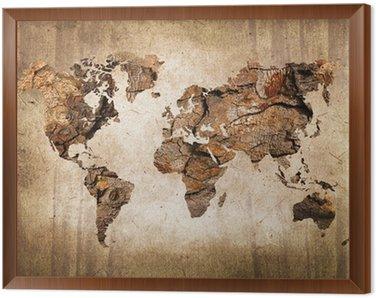 Quadro in Cornice Legno mappa del mondo, texture vintage