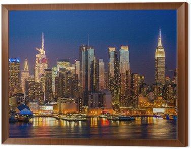 Quadro in Cornice New York City Manhattan edifici midtown skyline notte