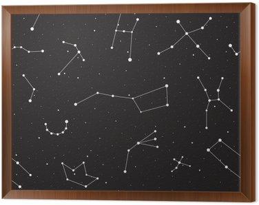 Quadro in Cornice Notte stellata, seamless, fondo con stelle e costellazioni, illustrazione vettoriale