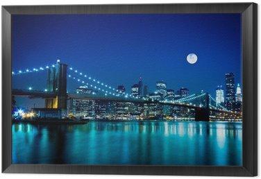 Quadro in Cornice Notturno Ponte di Brooklyn e New York
