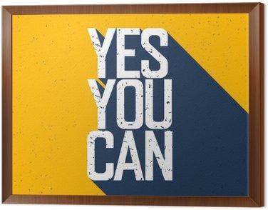"""Quadro in Cornice Poster motivazionale con scritta """"Yes You Can"""". Ombre, su Ye"""
