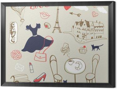 Quadro in Cornice Set di mano disegnato simboli di Parigi