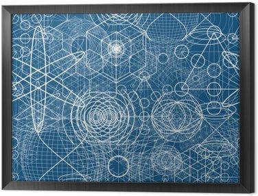 Quadro in Cornice Simboli geometria sacra ed elementi di carta da parati seamless