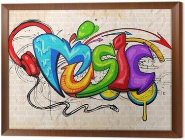 Quadro in Cornice Stile Graffiti Music background