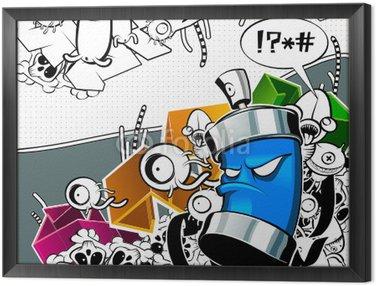 Quadro in Cornice Strano graffiti immagine con può