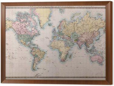 Quadro in Cornice Vecchio Antique World Map su Mercator Projection