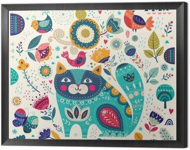 Quadro in Cornice Vector variopinta astratta con gatto belle, farfalle, uccelli e fiori
