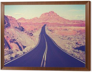 Quadro in Cornice Vintage tonica curvo deserto autostrada, concetto di viaggio, Stati Uniti d'America