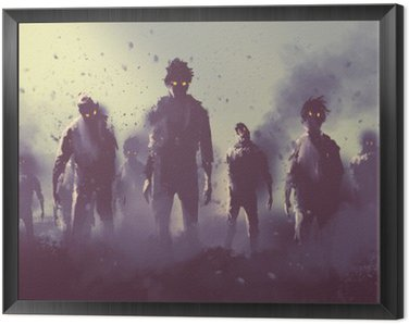 Quadro in Cornice Zombie folla che cammina di notte, concetto halloween, illustrazione pittura