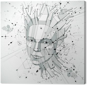 Quadro su Tela 3d vector low poly portrait of a smart woman, human thoughts