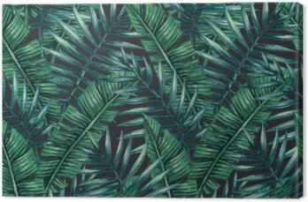 Quadro su Tela Acquerello tropicali foglie di palma seamless. Illustrazione vettoriale.