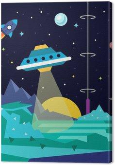 Quadro su Tela Alien paesaggio pianeta spazio con ufo
