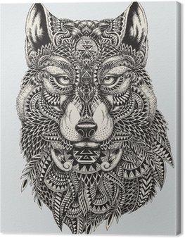 Quadro su Tela Altamente dettagliata illustrazione astratta lupo
