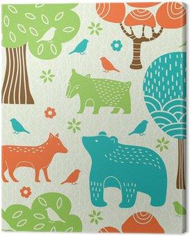 Quadro su Tela Animali della foresta seamless pattern
