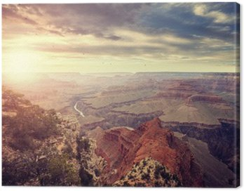 Quadro su Tela Annata tonica tramonto sul Grand Canyon, una delle principali destinazioni turistiche negli Stati Uniti.