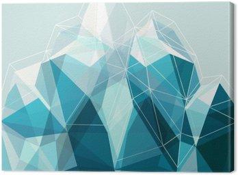 Quadro su Tela Astratta geometria blu montagna