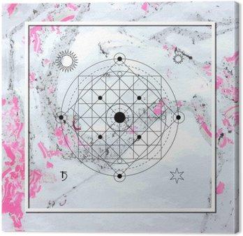 Quadro su Tela Astratta geometria mistica, l'alchimia lineare, occulto, segno filosofico.