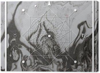 Quadro su Tela Astratta geometria mistica, occulto, segno filosofico.