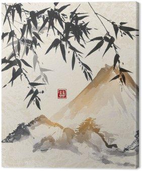 Quadro su Tela Bambù e le montagne. Tradizionale pittura a inchiostro sumi-e giapponese. Contiene geroglifico - doppia fortuna.