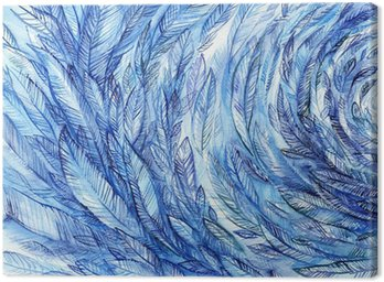 Quadro su Tela blue feathers in a circle, watercolor abstract background
