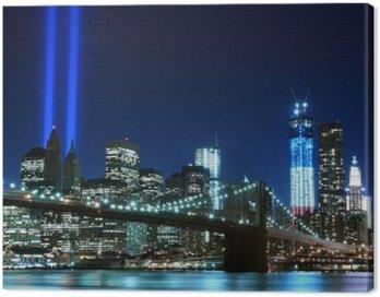 Quadro su Tela Brooklyn Brigde e le torri di luci, New York City