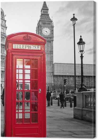 Quadro su tela cabina telefonica rossa di londra con il for Disegni base della cabina