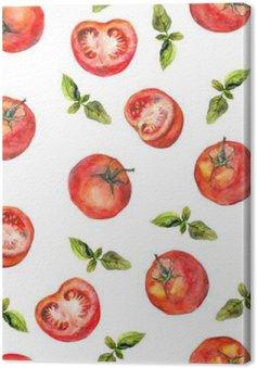 Quadro su Tela Carta da parati senza soluzione di continuità con verdure pomodoro e basilico verde