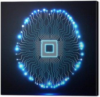 Quadro su Tela Cervello Neon. Processore. Scheda di circuito. tecnologia sfondo astratto. Illustrazione vettoriale. eps 10